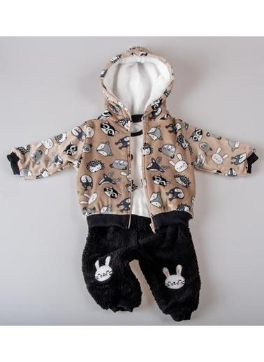POKY Yeni Sezon Bebek Sevecen Hayvanlar Kapüşonlu Polar Yelekli 3'Lü Takım-4842 Kahve
